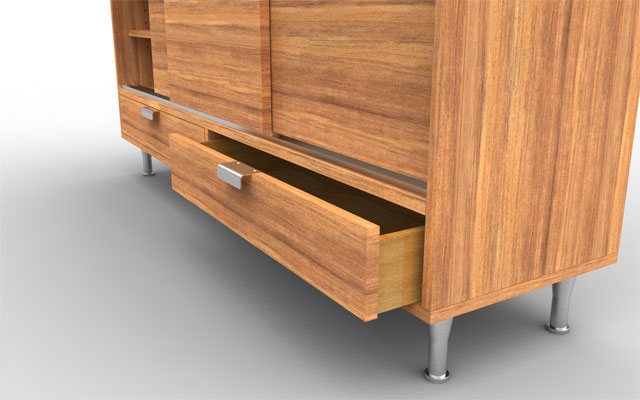 heritage credenza solidworks model rendered in Keyshot