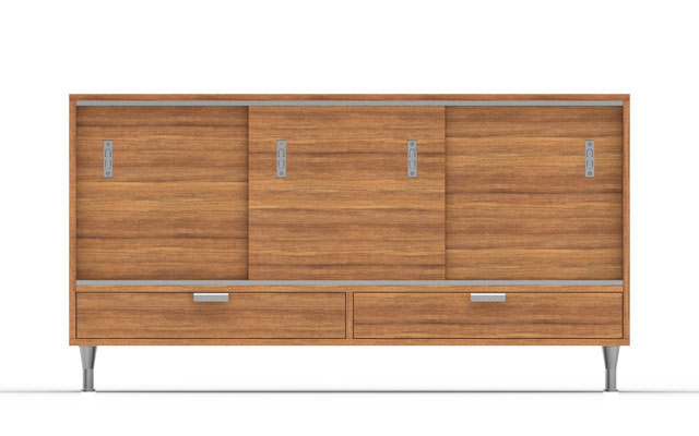 full view of danish modern inspired credenza modeled in solidworks