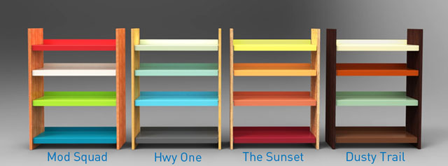 bookshelf color options inspired by California design and culture including Eames